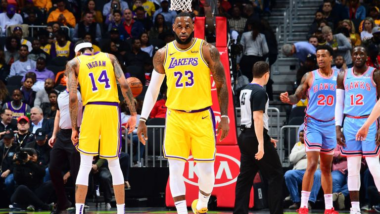 65d3f3e914d LeBron James of the Los Angeles Lakers looks on against the Atlanta Hawks