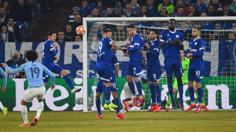 Sane bends in his free-kick against Schalke