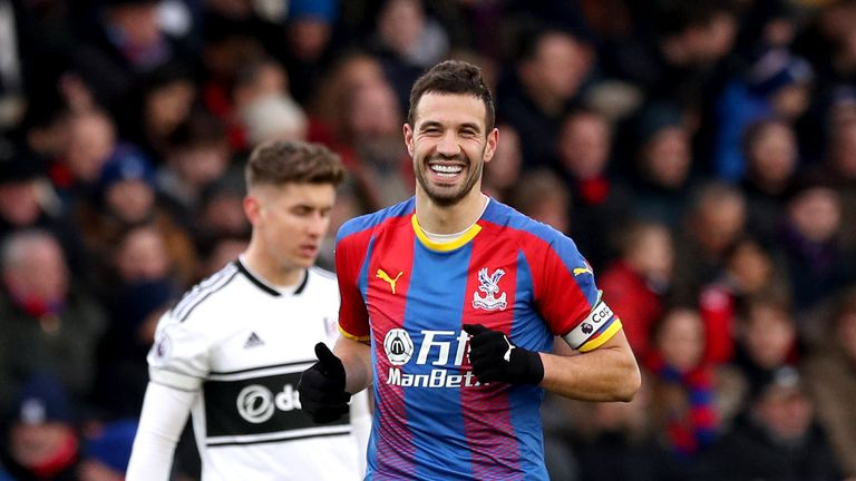Crystal Palace's Luka Milivojevic celebrates scoring his side's first goal of the game