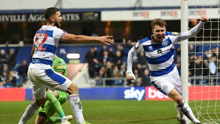 Luke Freeman celebrates scoring the opening goal for QPR against Leeds