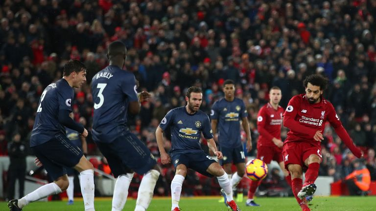 during the Premier League match between Liverpool FC and Manchester United at Anfield on December 16, 2018 in Liverpool, United Kingdom.