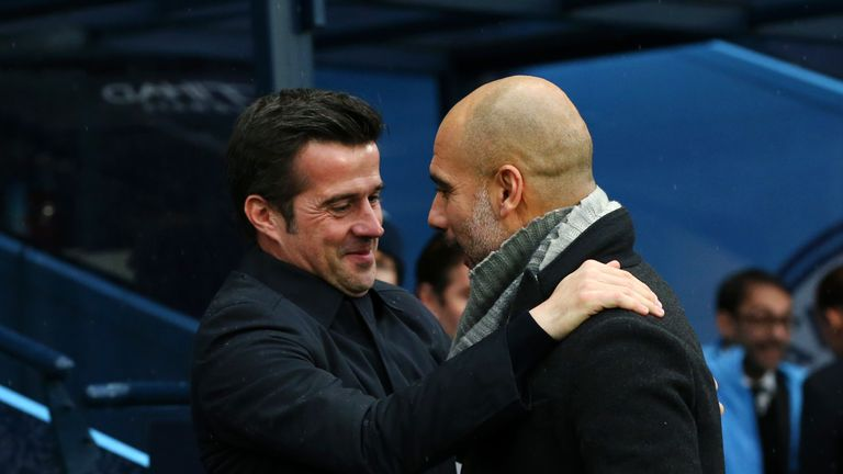 Pep Guardiola (right) greets Marco Silva ahead of Manchester City's 3-1 win against Everton at the Etihad earlier in the season