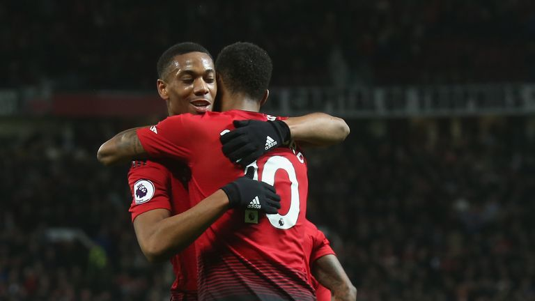 Anthony Martial and Marcus Rashford during the Premier League match between Manchester United and AFC Bournemouth at Old Trafford on December 30, 2018 in Manchester, United Kingdom.