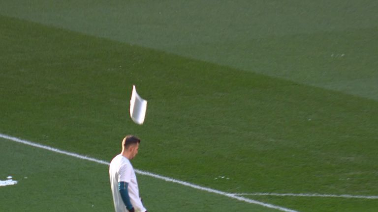 Martin Dubravka is nearly hit by a sheet of ice falling from the Wembley Arch