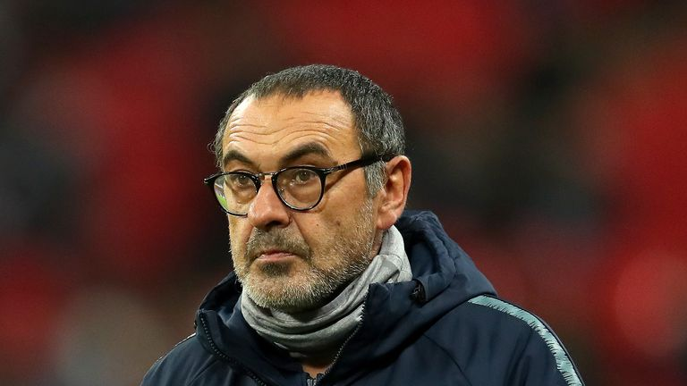 Maurizio Sarri during the Carabao Cup Semi-Final First Leg match between Tottenham Hotspur and Chelsea at Wembley Stadium on January 8, 2019 in London, England.