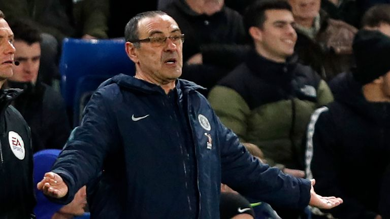 Maurizio Sarri watches on during Chelsea's FA Cup defeat to Manchester United