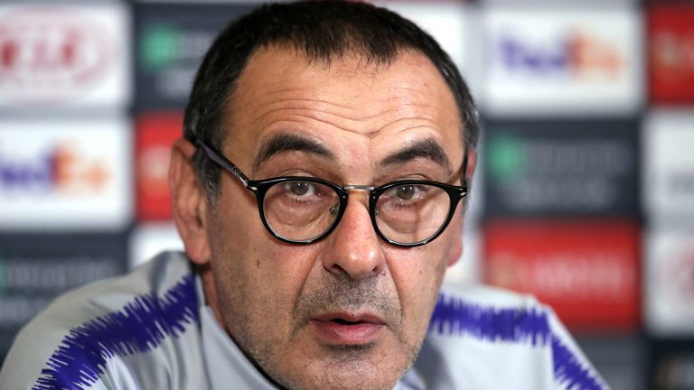 Maurizio Sarri during the press conference at Cobham