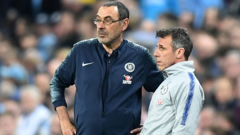 Maurizio Sarri and his assistant Gianfranco Zola during the Carabao Cup Final between Chelsea and Manchester City at Wembley Stadium