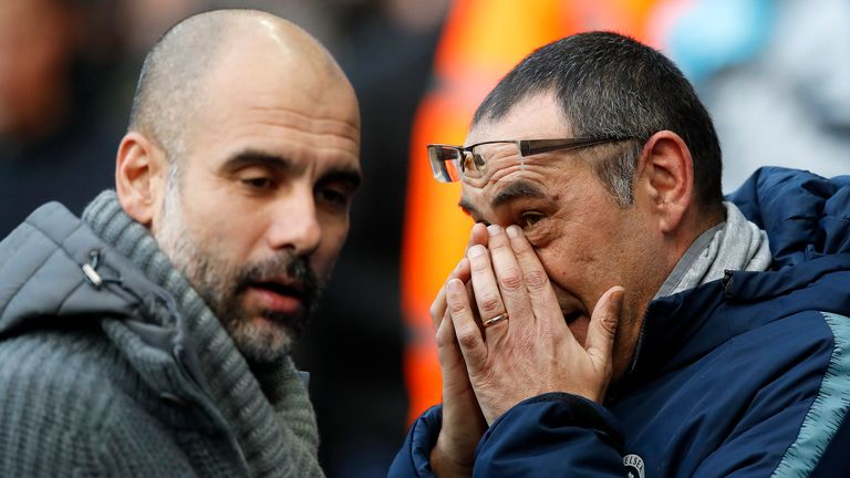 Pep Guardiola and Maurizio Sarri will meet for the second time in less than a month in Sunday's League Cup showpiece