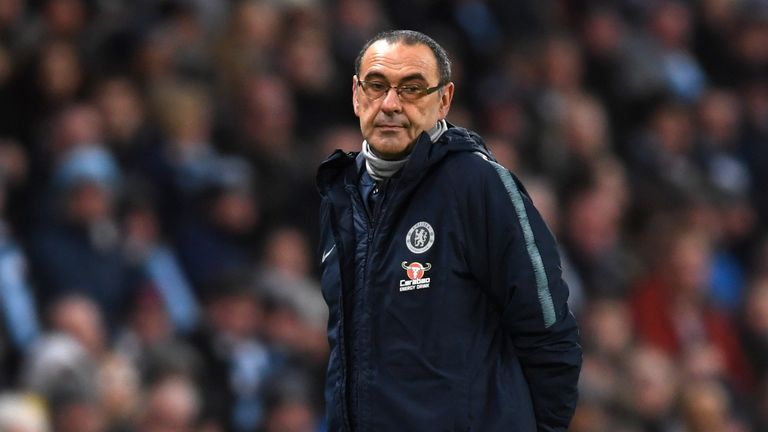 Maurizio Sarri during the Premier League match between Manchester City and Chelsea FC at Etihad Stadium on February 10, 2019 in Manchester, United Kingdom.