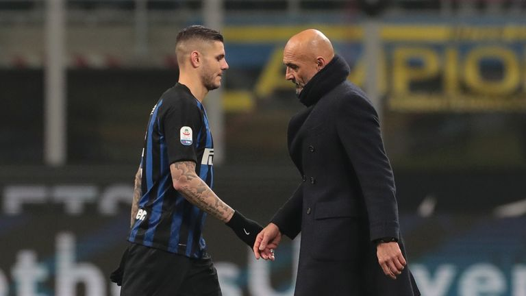 Mauro Icardi during the Serie A match between FC Internazionale and Bologna FC at Stadio Giuseppe Meazza on February 3, 2019 in Milan, Italy.