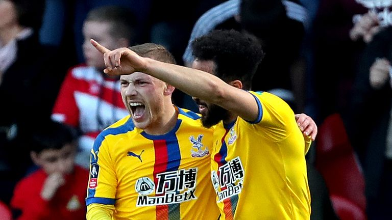 Max Meyer celebrates scoring Crystal Palace's second goal against Doncaster