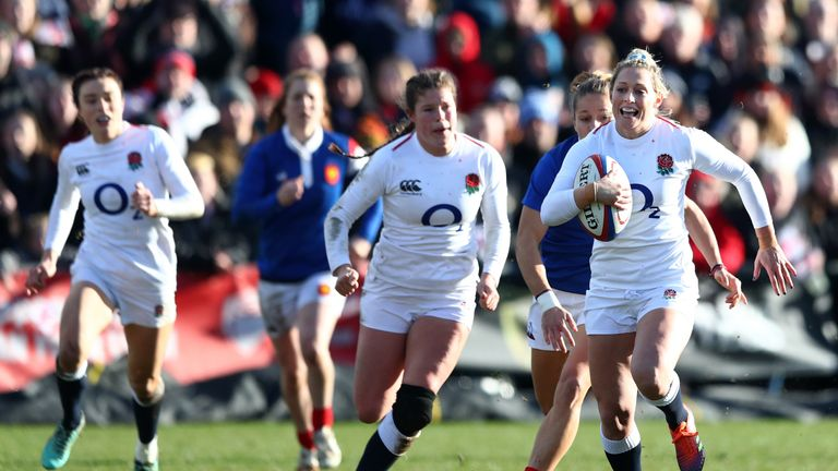 Sarah McKenna (right) was superb for England from full-back, while Jess Breach (left) scored twice