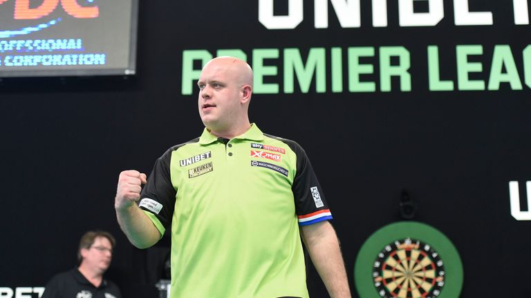 Michael van Gerwen stayed top of the Premier League with a dominant display to crush Rob Cross