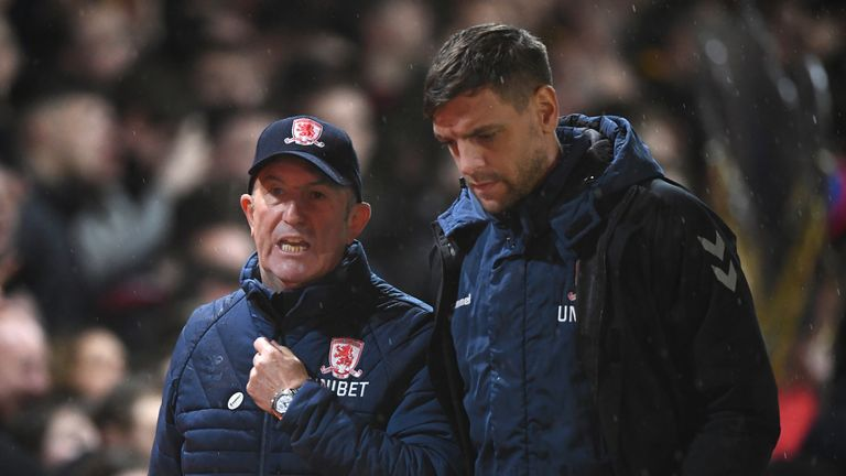 Former Boro manager Tony Pulis in discussion with coach Woodgate
