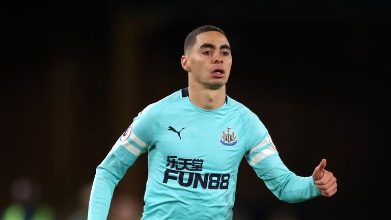 Record signing Miguel Almiron comes on for his Newcastle debut at Wolves