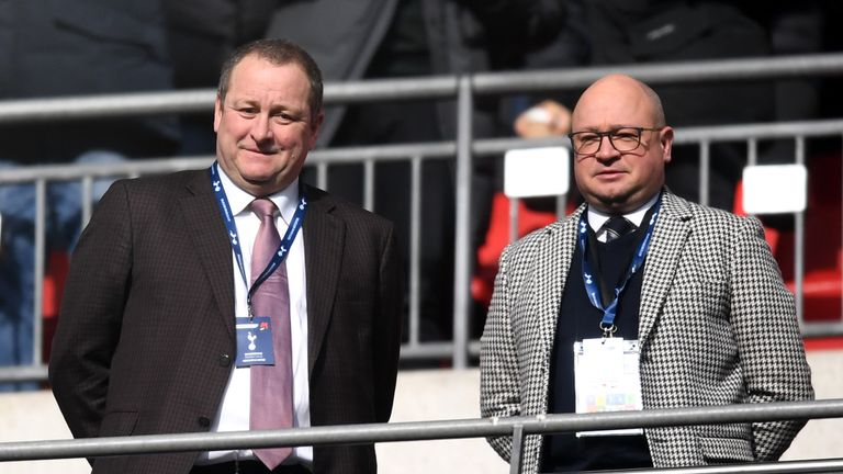 Newcastle United owner Mike Ashley and managing director Lee Charnley at Wembley Stadium for Tottenham Hotspur v Newcastle United
