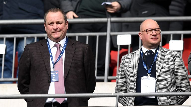Newcastle United owner Mike Ashley at Wembley Stadium for Tottenham Hotspur v Newcastle United
