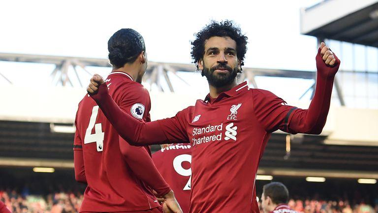 Mohamed Salah celebrates his goal