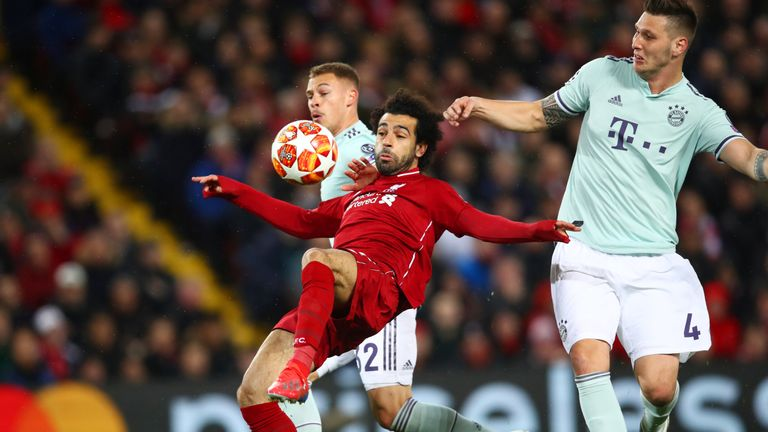 Mohamed Salah attempts to control the ball for Liverpool against Bayern Munich