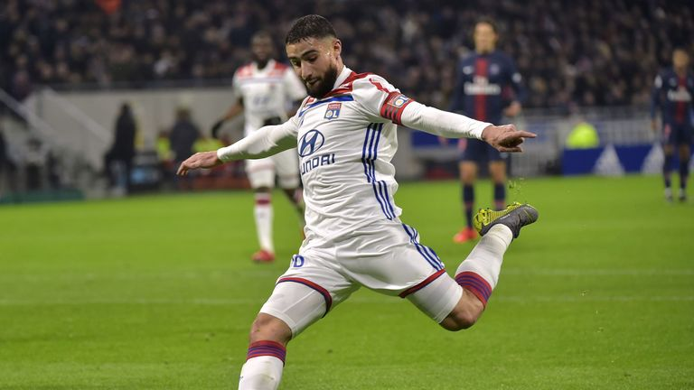 Nabil Fekir scored for Lyon as they beat PSG on Sunday