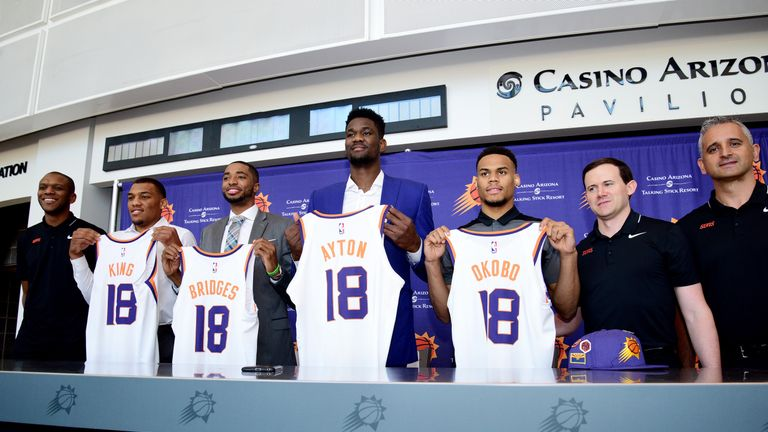 Deandre Ayton, second from right, was the No. 1 pick for the Phoenix Suns at the NBA Draft 2018