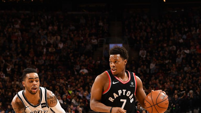 TORONTO, CANADA - FEBRUARY 11: Kyle Lowry #7 of the Toronto Raptors handles the ball against the Brooklyn Nets on February 11, 2019 at the Scotiabank Arena in Toronto, Ontario, Canada. NOTE TO USER: User expressly acknowledges and agrees that, by downloading and or using this Photograph, user is consenting to the terms and conditions of the Getty Images License Agreement.  Mandatory Copyright Notice: Copyright 2019 NBAE (Photo by Ron Turenne/NBAE via Getty Images)