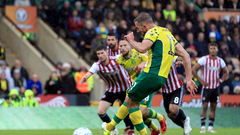 Jordan Rhodes misses from the spot against Brentford last October, one of six penalties Norwich have failed to convert this season