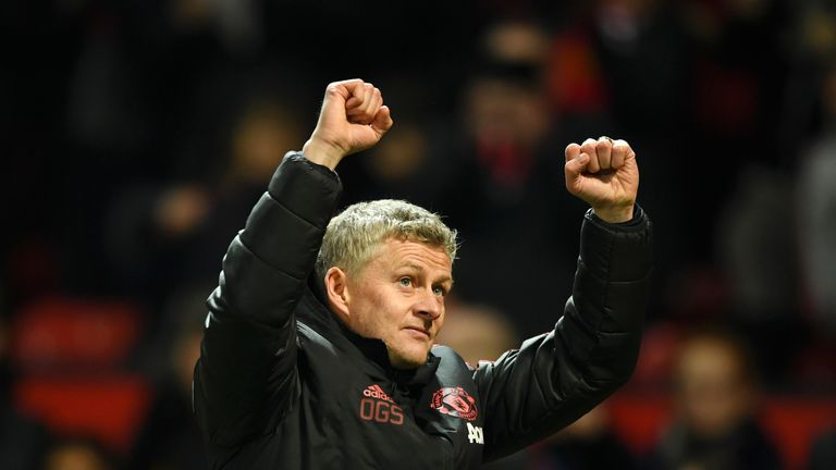 Ole Gunnar Solskjaer during the Premier League match between Manchester United and Brighton & Hove Albion at Old Trafford on January 19, 2019 in Manchester, United Kingdom.