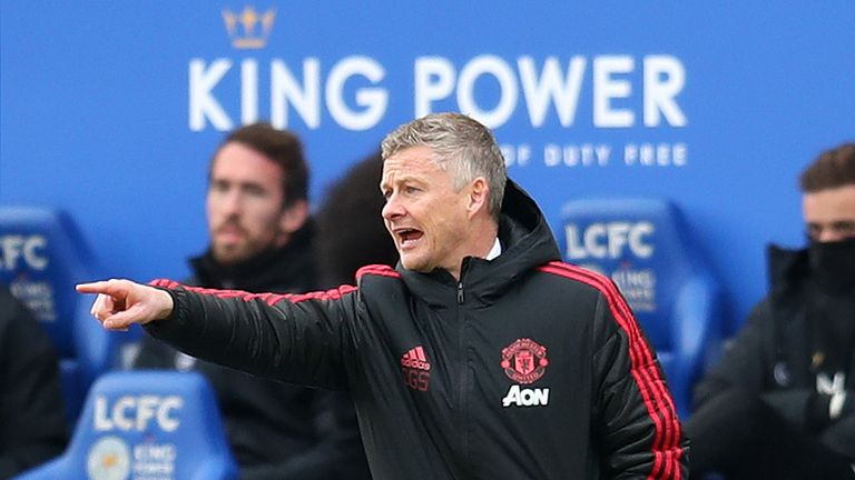 Ole Gunnar Solskjaer, Interim Manager of Manchester United gives his team instructions during the Premier League match between Leicester City and Manchester United at The King Power Stadium on February 3, 2019 in Leicester, United Kingdom