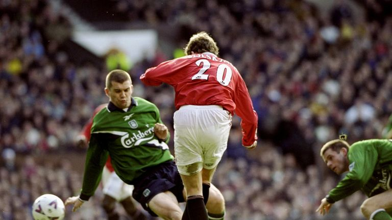 Solskjaer strike on the stroke of half-time rescues a point for United against Liverpool in 2000