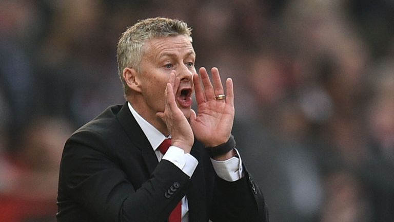 Ole Gunnar Solskjaer shouts from the touchline at Old Trafford during the 0-0 draw with Liverpool