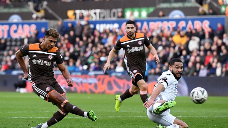 Ollie Watkins puts Brentford ahead at Swansea in the FA Cup fifth round