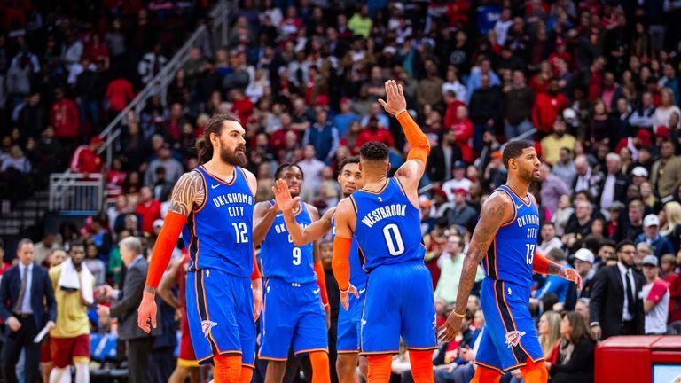Orlando Thunder celebrate beating the Rockets