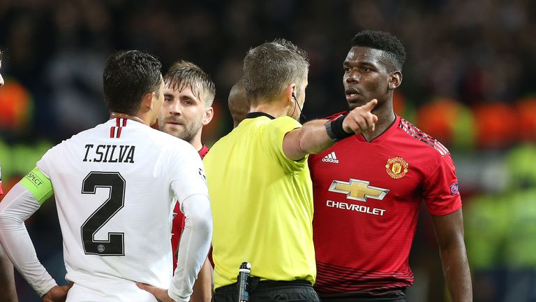 Paul Pogba was sent off late on for a second yellow card against PSG