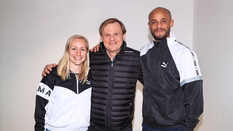 Man City Women's Pauline Bremer Puma chief executive Bjorn Gulden and Man City captain Vincent Kompany