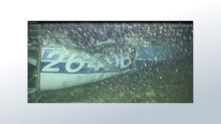 First picture of Emiliano Sala's plane in the Channel. It shows the rear left side of the fuselage including part of the aircraft registration