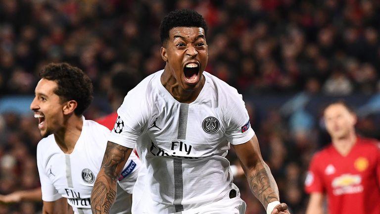 Presnel Kimpembe celebrates putting PSG ahead against Manchester United