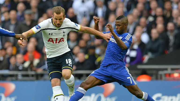 Ramires tackles Harry Kane during the 2015 League Cup final