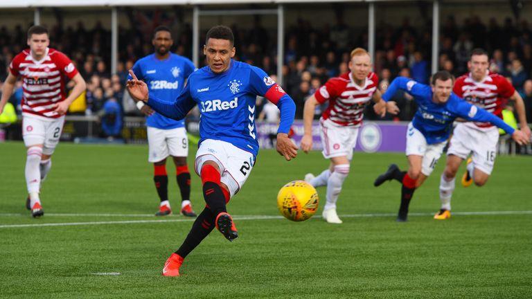 Rangers' James Tavernier makes it 4-0 from the spot against Hamilton