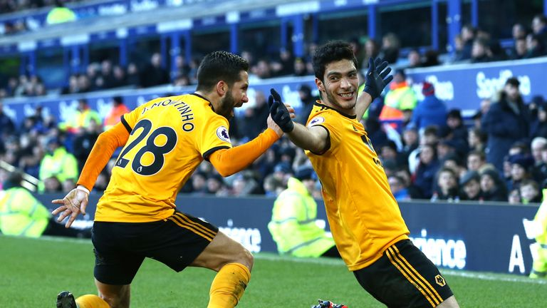 Raul Jimenez of Wolves celebrates after scoring his team's second goal