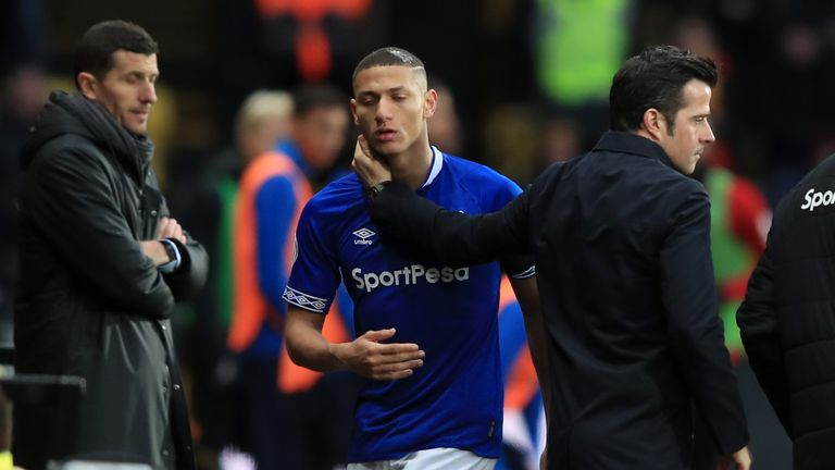Richarlison was replaced shortly after Watford's winning goal after a subdued display