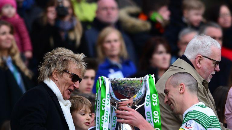 Celtic fan Rod Stewart with Scott Brown