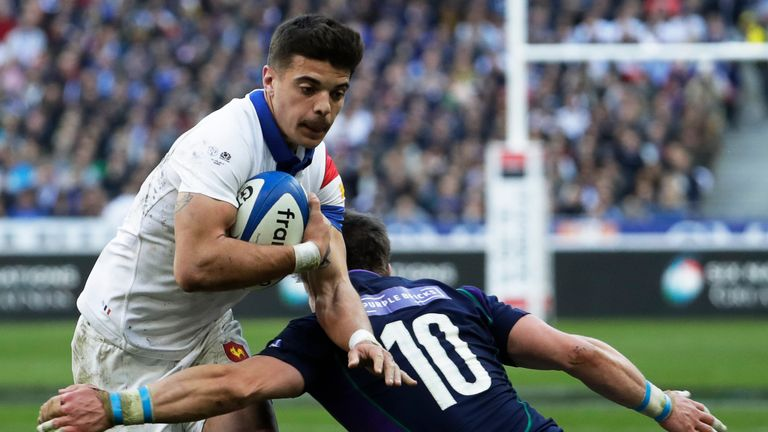 France's Romain NTamack exploits a gap in the Scotland defence during their clash in Paris