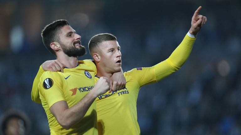Ross Barkley and Olivier Giroud both scored for Chelsea on Thursday