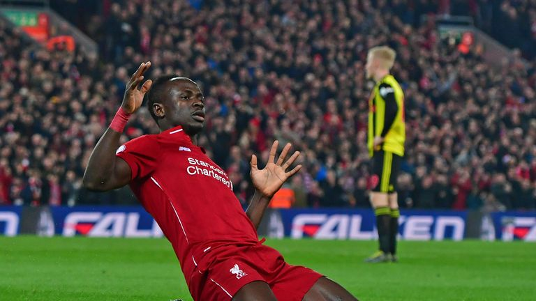 Mane celebrates after putting Liverpool ahead