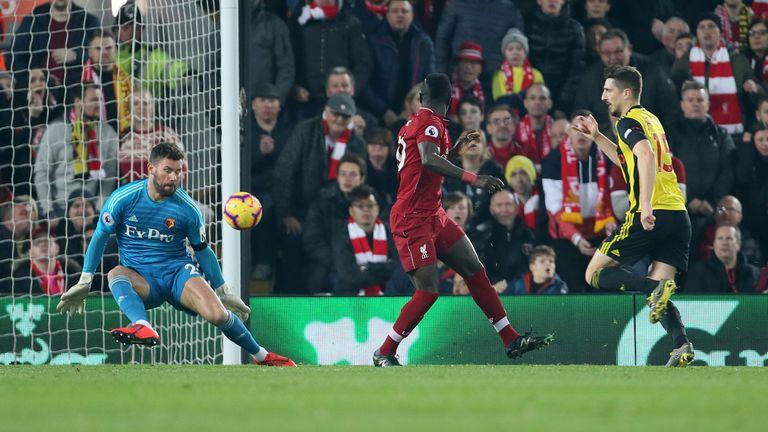Sadio Mane scores with a backheel against Watford