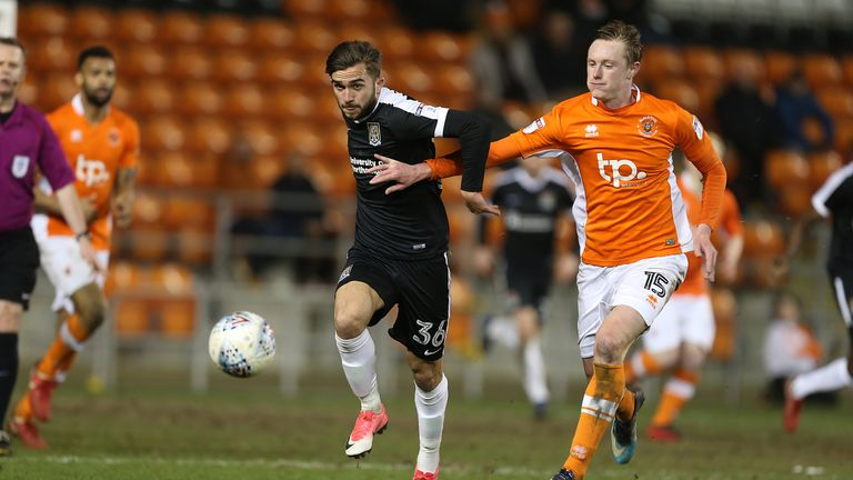 Sean Longstaff during the Sky Bet League One match between Blackpool and Northampton Town at Bloomfield Road on April 10, 2018 in Blackpool, England.