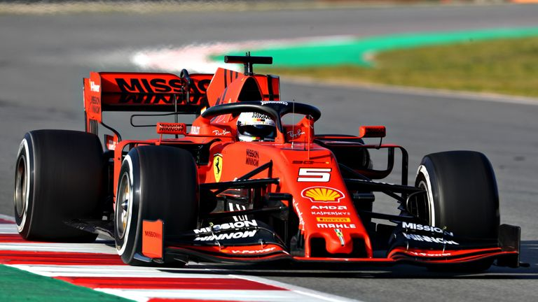 Sebastian Vettel on track during the first day of winter testing at Circuit de Catalunya on February 18, 2019