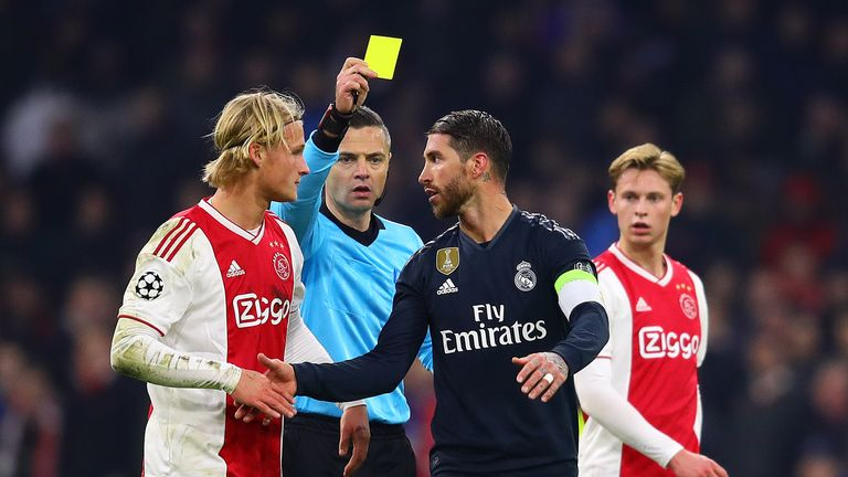 Sergio Ramos will miss the Champions League last 16 second-leg against Ajax after being booked in Amsterdam